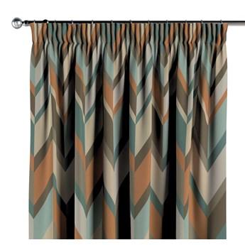 Zasłona na taśmie marszczącej 1 szt., geometryczne wzory w rudo-brązowo-niebieskiej kolorystyce, 1szt 130 × 260 cm, Vintage 70's