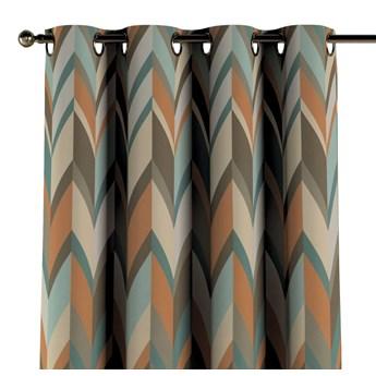 Zasłona na kółkach 1 szt., geometryczne wzory w rudo-brązowo-niebieskiej kolorystyce, 1szt 130 × 260 cm, Vintage 70's