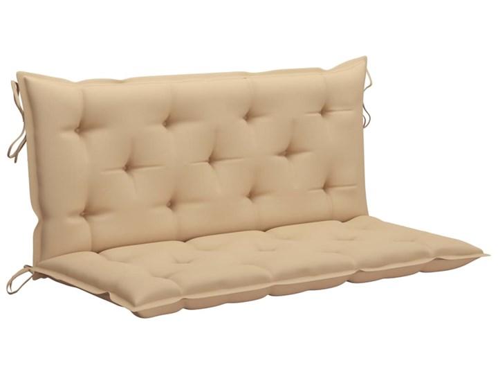 vidaXL Huśtawka ogrodowa z beżową poduszką, 120 cm, drewno tekowe Kolor Beżowy
