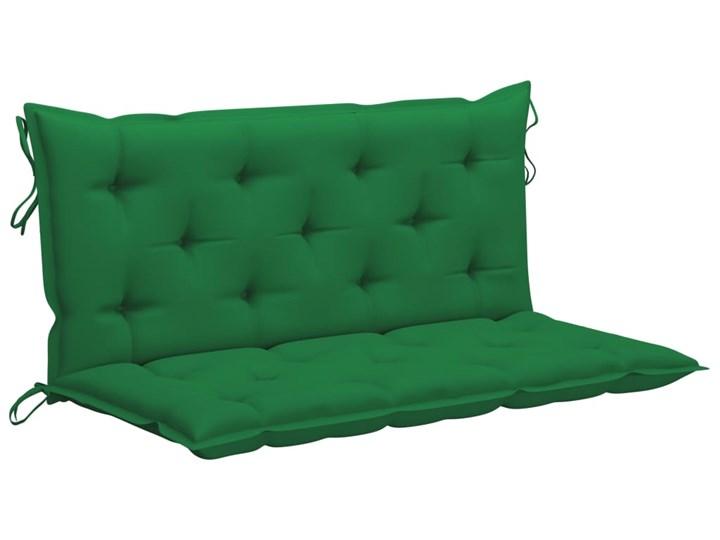 vidaXL Huśtawka ogrodowa z zieloną poduszką, 170 cm, drewno tekowe Kolor Zielony