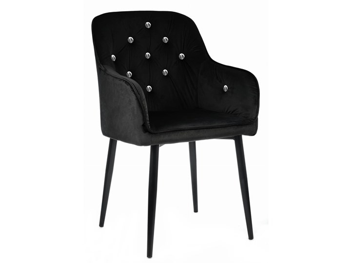 HOME DECOR KRZESŁO KLARA CZARNE KRYSZTAŁKI TAPICEROWANE PIKOWANE WELUR GLAMOUR Tworzywo sztuczne Metal Kategoria Krzesła kuchenne Tkanina Styl Skandynawski
