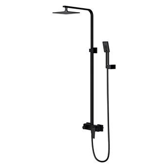 Parma zestaw prysznicowy z deszczownicą ścienny czarny mat PM7444BL