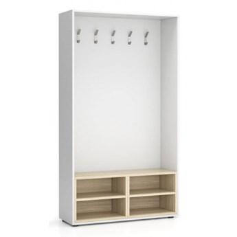 Ścianka na ubrania (wieszak), 5 haczyków, biała/naturalny dąb