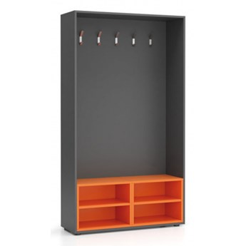 Ścianka na ubrania (wieszak), 5 haczyków, grafit/pomarańczowa