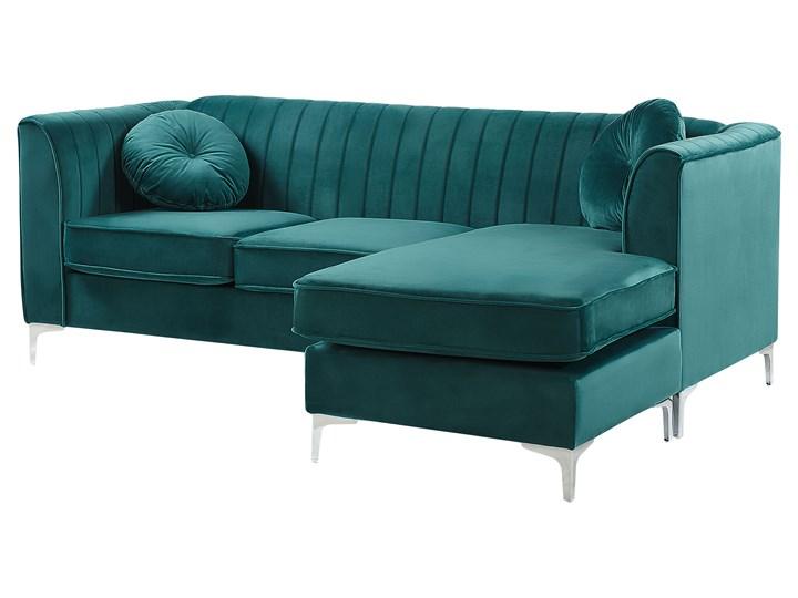 Narożnik lewostronny modułowy zielony 3-osobowy dodatkowe poduszki styl glamour Modułowe Strona Lewostronne