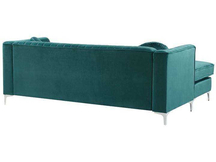 Narożnik prawostronny modułowy zielony 3-osobowy dodatkowe poduszki styl glamour Materiał obicia Welur Modułowe Strona Prawostronne