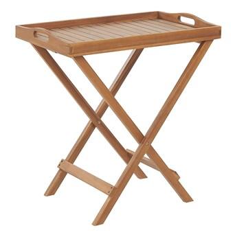 Stolik bistro jasny drewniany akacja składany z tacą