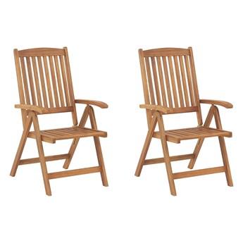 Zestaw 2 krzeseł ogrodowych jasny drewniany akacja składane krzesła bistro