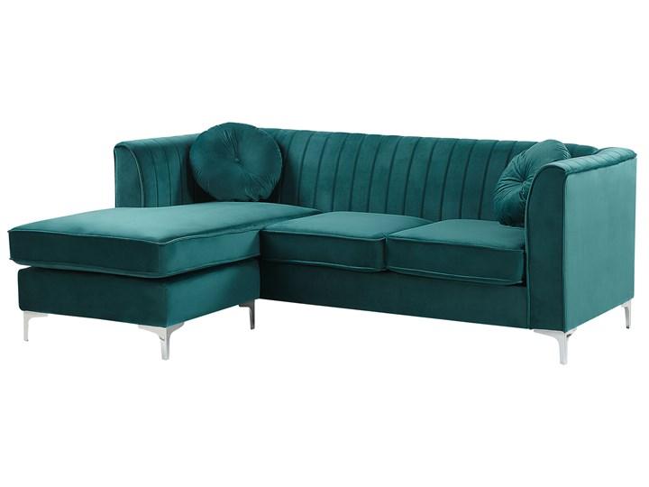 Narożnik prawostronny modułowy zielony 3-osobowy dodatkowe poduszki styl glamour Modułowe Boki Z bokami Styl Nowoczesny