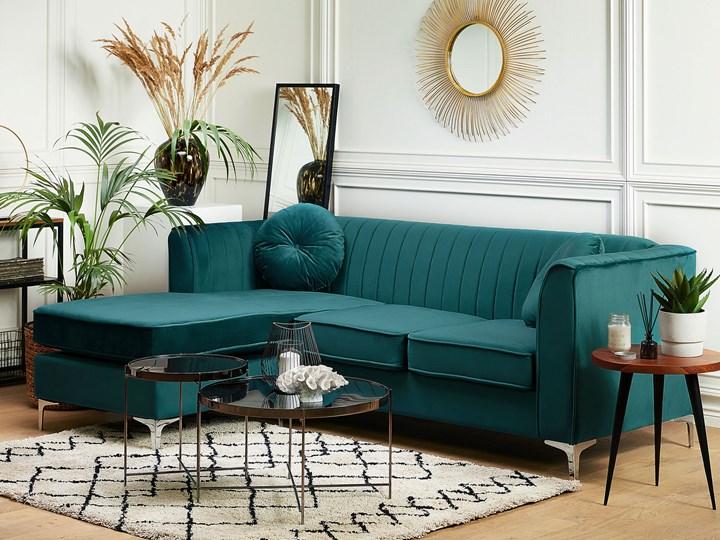 Narożnik prawostronny modułowy zielony 3-osobowy dodatkowe poduszki styl glamour Modułowe Funkcje Z szezlongiem