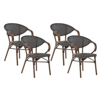 Zestaw 4 krzeseł ogrodowych szare siedzisko tekstylne aluminiowa rama sztaplowany komplet