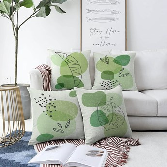 Zestaw 4 poszewek na poduszki Minimalist Cushion Covers Zamioculus, 55x55 cm