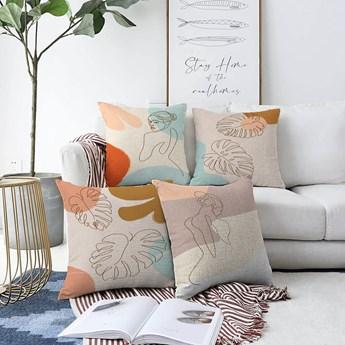 Zestaw 4 poszewek na poduszki Minimalist Cushion Covers Feminine, 55x55 cm