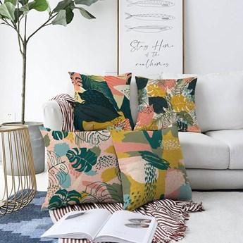 Zestaw 4 poszewek na poduszki Minimalist Cushion Covers Colorful Leaves, 55x55 cm