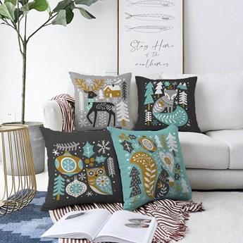 Zestaw 4 poszewek na poduszki Minimalist Cushion Covers Winter Forest, 55x55 cm