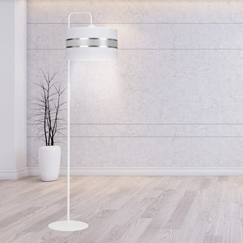 LARO LP1 WHITE 1002/LP1 lampa podłogowa biała duży abażur nowoczesna