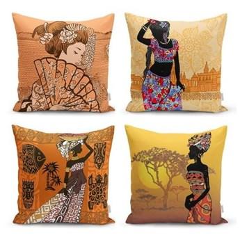 Zestaw 4 dekoracyjnych poszewek na poduszki Minimalist Cushion Covers Eastern Ethnic, 45x45 cm