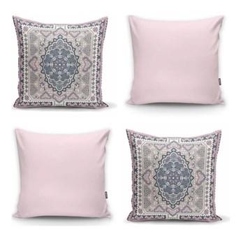 Zestaw 4 dekoracyjnych poszewek na poduszki Minimalist Cushion Covers Pink Ethnic, 45x45 cm