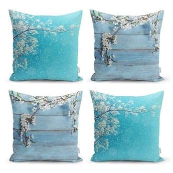 Zestaw 4 dekoracyjnych poszewek na poduszki Minimalist Cushion Covers Winter Flowers, 45x45 cm
