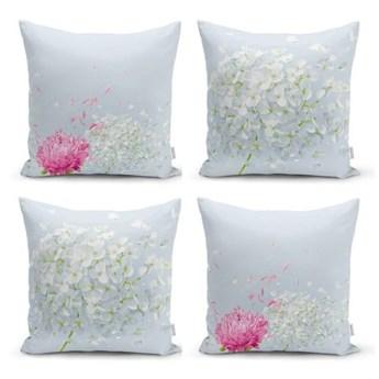 Zestaw 4 dekoracyjnych poszewek na poduszki Minimalist Cushion Covers Soft Flowers, 45x45 cm