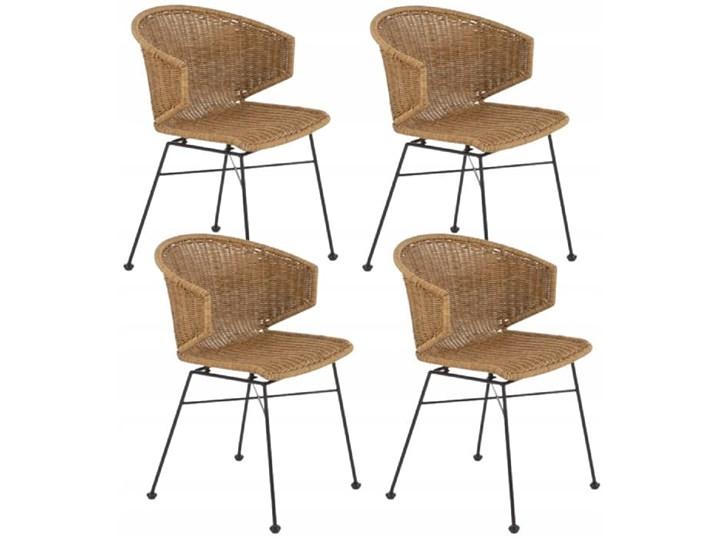 Zestaw 4x Krzesło K407 Rattan Halmar Wysokość 87 cm Szerokość 44 cm Pomieszczenie Jadalnia Metal Stal Szerokość 56 cm Głębokość 51 cm Krzesło inspirowane Tworzywo sztuczne Pomieszczenie Salon