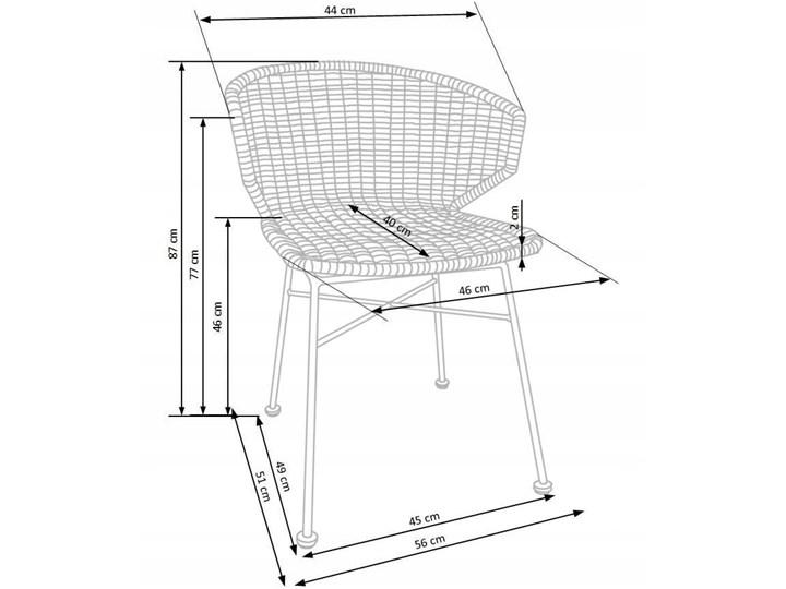 Zestaw 4x Krzesło K407 Rattan Halmar Metal Głębokość 51 cm Wysokość 87 cm Krzesło inspirowane Tworzywo sztuczne Stal Szerokość 56 cm Szerokość 44 cm Styl Klasyczny