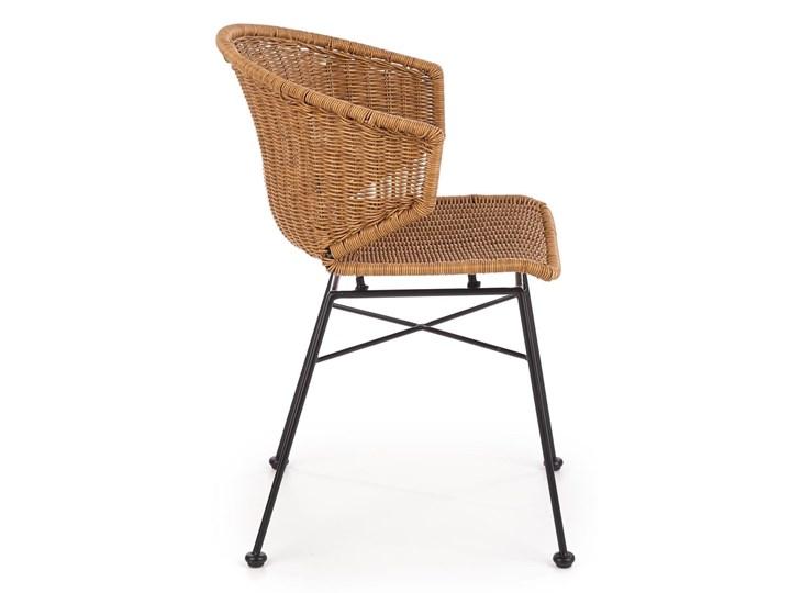Zestaw 4x Krzesło K407 Rattan Halmar Szerokość 44 cm Stal Metal Wysokość 87 cm Szerokość 56 cm Głębokość 51 cm Krzesło inspirowane Tworzywo sztuczne Styl Rustykalny