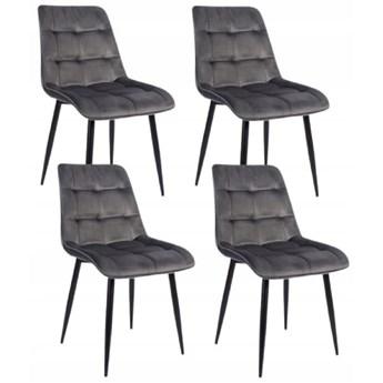 Zestaw 4x Krzesło CHIC VELVET Popiel Signal