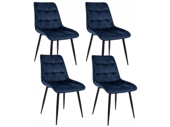 Zestaw 4x Krzesło CHIC VELVET Granat Signal Tkanina Krzesło inspirowane Pikowane Stal Szerokość 50 cm Wysokość 88 cm Welur Kategoria Krzesła kuchenne Metal Tapicerowane Głębokość 58 cm Styl Glamour