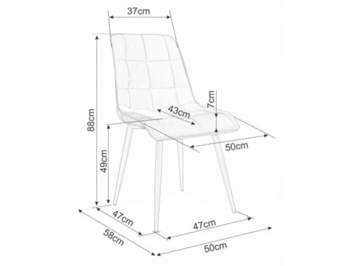 Zestaw 4x Krzesło CHIC VELVET Granat Signal Wysokość 88 cm Stal Welur Tkanina Szerokość 50 cm Krzesło inspirowane Głębokość 58 cm Metal Tapicerowane Pikowane Pomieszczenie Jadalnia
