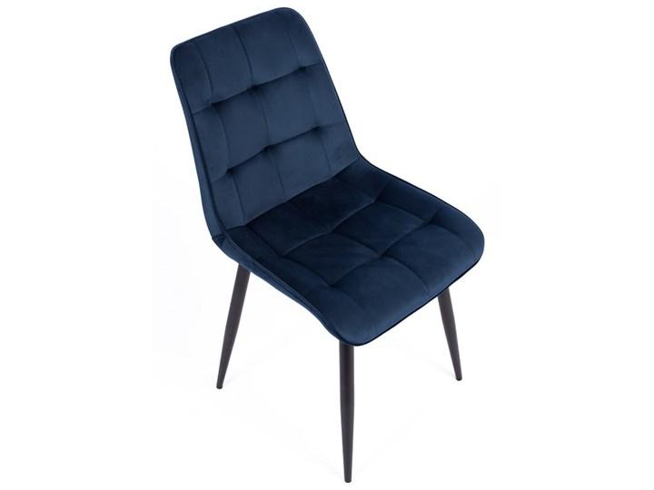 Zestaw 4x Krzesło CHIC VELVET Granat Signal Metal Krzesło inspirowane Szerokość 50 cm Welur Stal Tapicerowane Tkanina Głębokość 58 cm Pikowane Wysokość 88 cm Pomieszczenie Salon