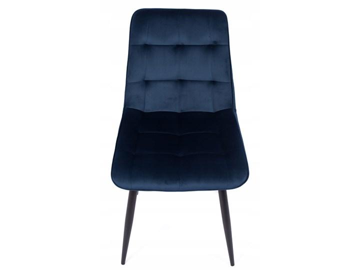 Zestaw 4x Krzesło CHIC VELVET Granat Signal Tapicerowane Tkanina Wysokość 88 cm Pikowane Welur Krzesło inspirowane Stal Metal Głębokość 58 cm Kategoria Krzesła kuchenne Szerokość 50 cm Pomieszczenie Salon