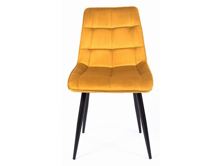 Krzesło CHIC VELVET Curry Signal Welur Pomieszczenie Jadalnia Metal Tapicerowane Z podłokietnikiem Stal Szerokość 50 cm Wysokość 88 cm Pikowane Tkanina Głębokość 58 cm Styl Nowoczesny