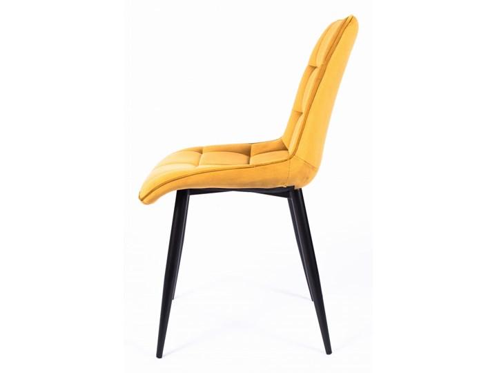 Krzesło CHIC VELVET Curry Signal Metal Z podłokietnikiem Tapicerowane Pikowane Wysokość 88 cm Tkanina Szerokość 50 cm Welur Pomieszczenie Jadalnia Głębokość 58 cm Stal Styl Glamour