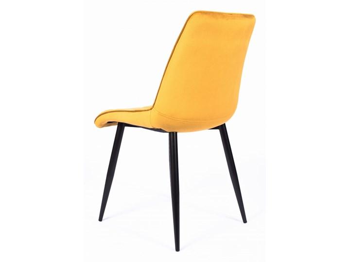 Krzesło CHIC VELVET Curry Signal Szerokość 50 cm Głębokość 58 cm Tkanina Z podłokietnikiem Welur Metal Pikowane Stal Wysokość 88 cm Tapicerowane Styl Nowoczesny