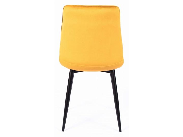 Krzesło CHIC VELVET Curry Signal Stal Tapicerowane Tkanina Metal Pikowane Wysokość 88 cm Szerokość 50 cm Welur Głębokość 58 cm Z podłokietnikiem Pomieszczenie Jadalnia Styl Glamour