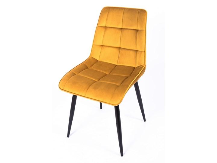 Krzesło CHIC VELVET Curry Signal Pikowane Wysokość 88 cm Metal Welur Tapicerowane Stal Szerokość 50 cm Tkanina Z podłokietnikiem Głębokość 58 cm Styl Nowoczesny