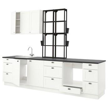 IKEA ENHET Kuchnia, antracyt/biały rama, 323x63.5x241 cm