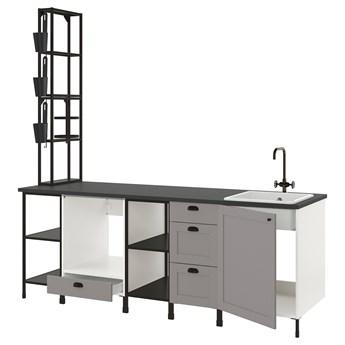 IKEA ENHET Kuchnia, antracyt/szary rama, 243x63.5x241 cm