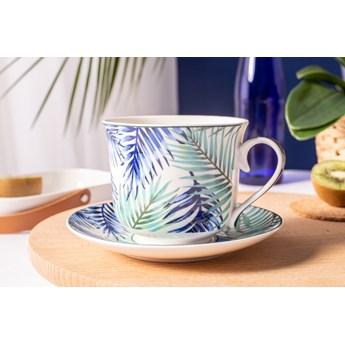 Duża filiżanka do kawy i herbaty ze spodkiem porcelanowa Jumbo Altom Design Botanical 350 ml