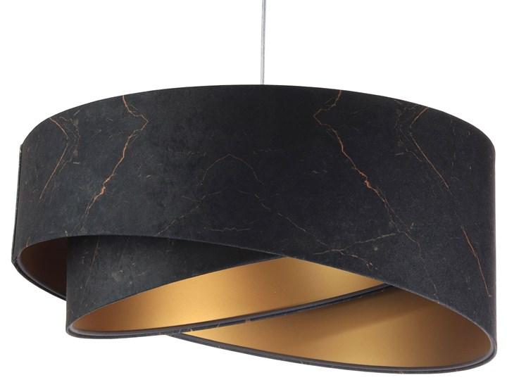Czarno-złota lampa wisząca glamour - EXX15-Magela Tkanina Lampa z abażurem Tworzywo sztuczne Metal Kolor Czarny