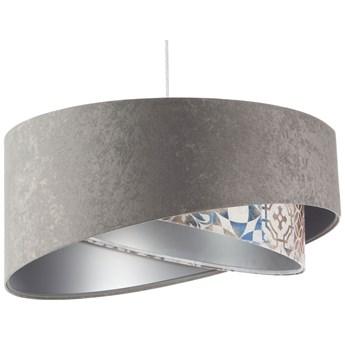Szara welurowa lampa wisząca ze zdobieniem - EXX23-Pelita