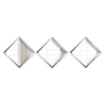 Zestaw 3 luster ściennych w ramach w kolorze srebra Oyo Concept Luna, 24x24 cm