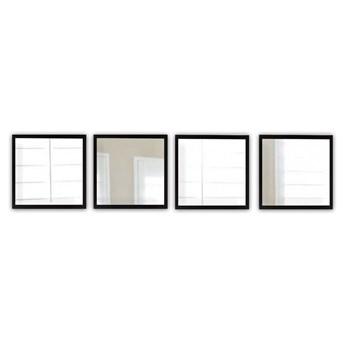 Zestaw 4 luster ściennych w czarnych ramach Oyo Concept Setayna, 24x24 cm