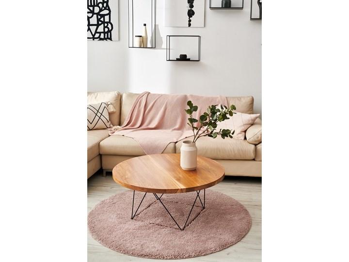 Stolik kawowy dębowy STOCKHOLM ROUND D=50cm h=48cm Wysokość 37 cm Drewno Wysokość 48 cm Stal Styl Skandynawski