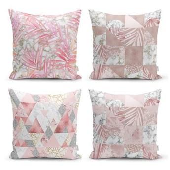 Zestaw 4 dekoracyjnych poszewek na poduszki Minimalist Cushion Covers Pink Leaves I, 45x45 cm