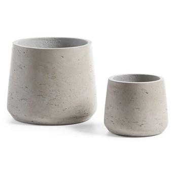 Zestaw dwóch jasnoszarych betonowych doniczek La Forma Lux