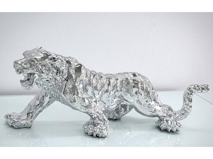 Srebrna figurka Tygrys 77x22x28cm Kolor Srebrny Żywica Zwierzęta Kategoria Figury i rzeźby