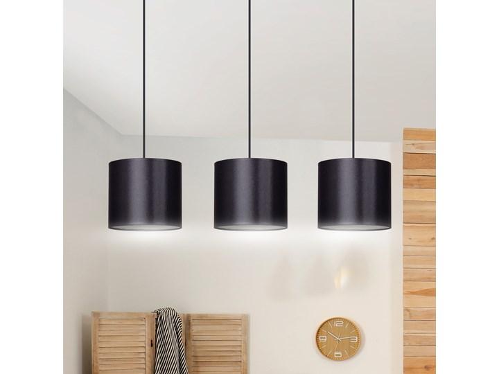 BERYL 3 BL BLACK lampa wisząca duże abażury regulowana wysokość różne kolory Lampa z abażurem Styl Klasyczny Metal Ilość źródeł światła 3 źródła