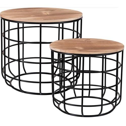 Loftowy zestaw stolików kawowych - Mulo